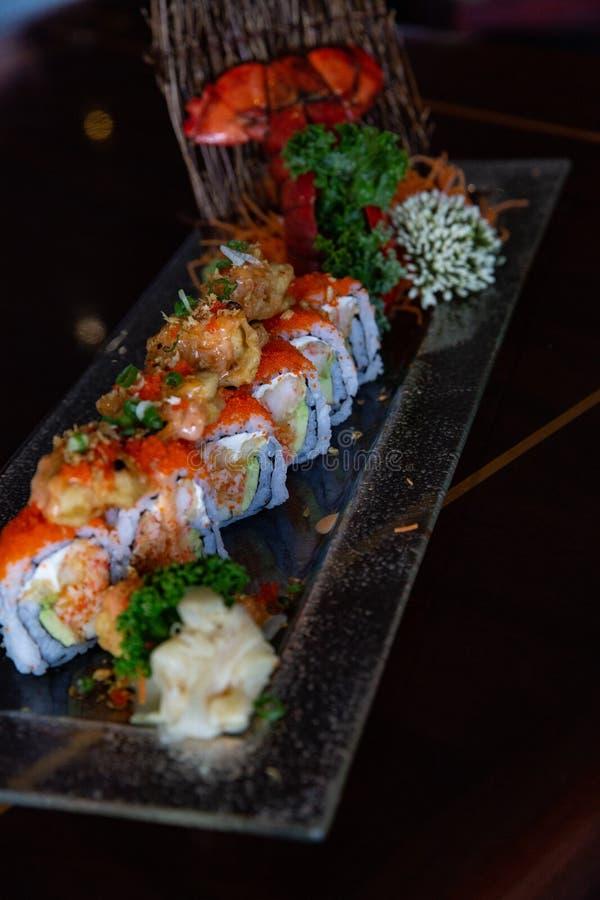 Lobster Tempura Sushi Roll stock images