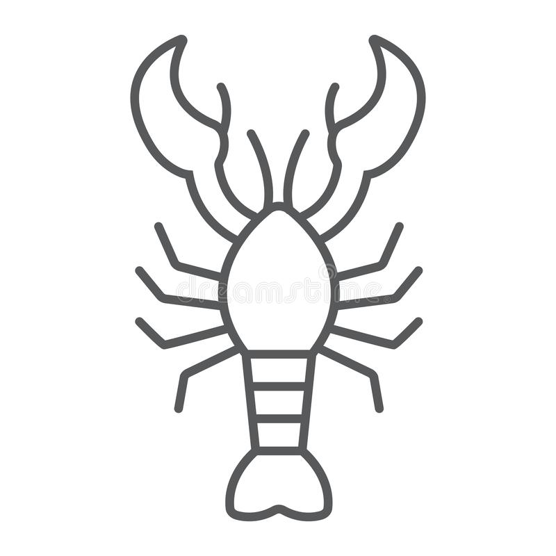 Lobster thin line icon, food and sea, cancer sign, vector graphics, a linear pattern on a white background. Lobster thin line icon, food and sea, cancer sign royalty free illustration