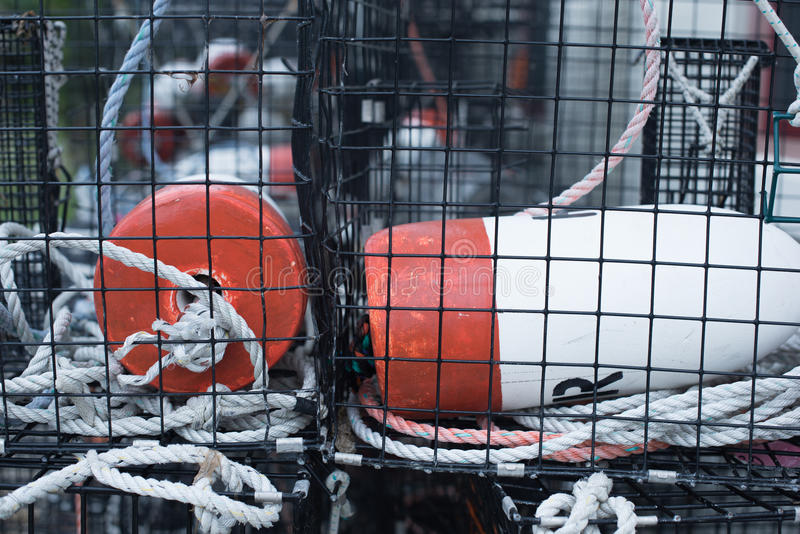 Lobster trap. Buoys inside of lobster trap royalty free stock photos