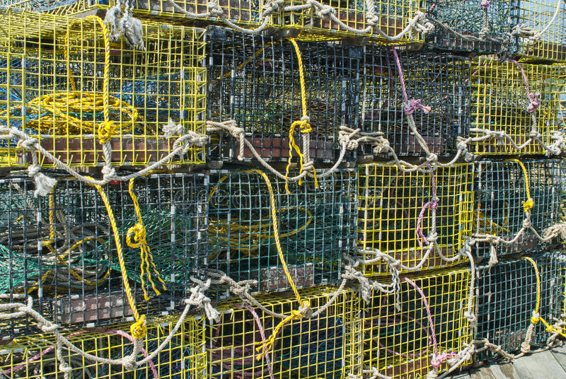 Download Lobster Traps on a Dock stock image. Image of atlantic - 26542295