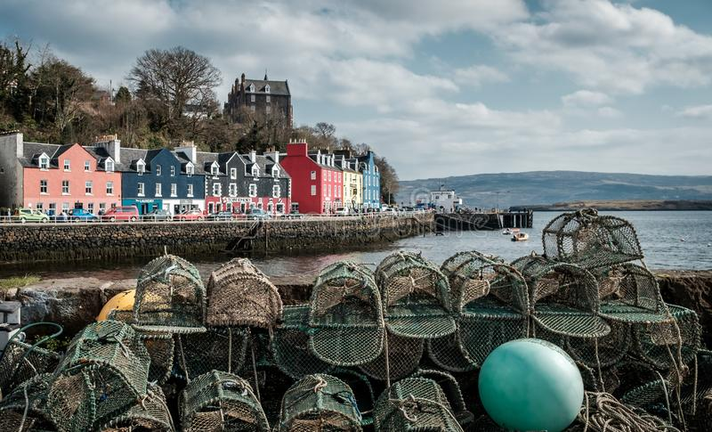 Lobster traps on a quay wall in Tobermory, Scotland royalty free stock photography