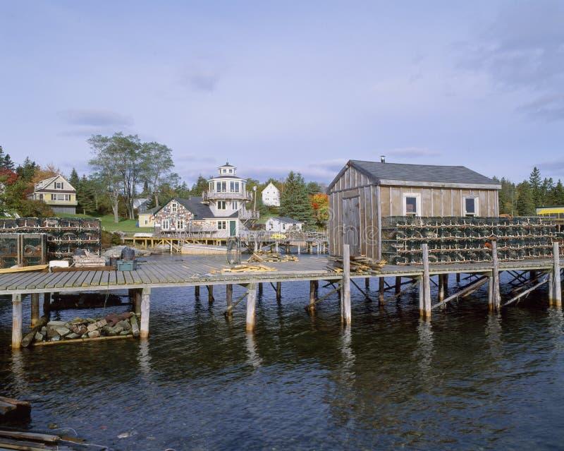 Lobster Village, Southwest Harbor of Mount Desert Island, Maine royalty free stock photography