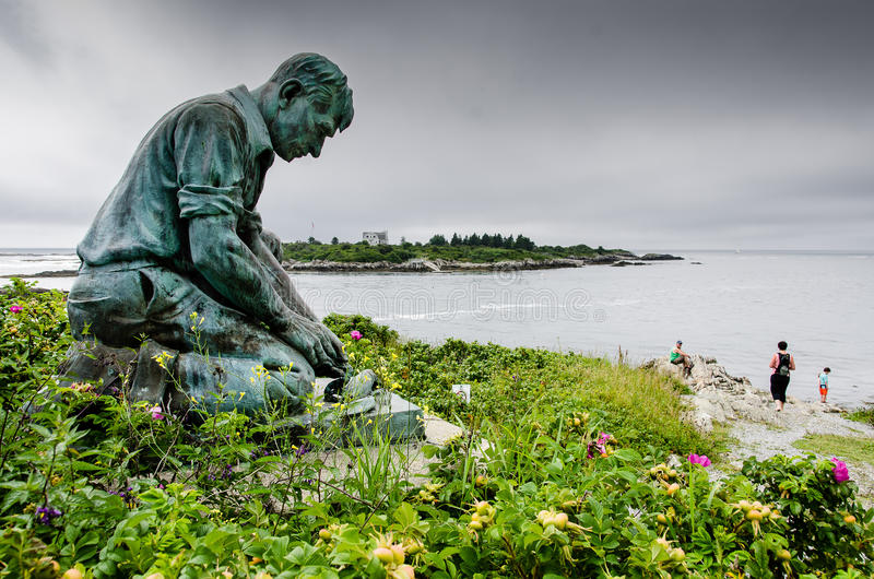 Lobsterman Statue at Land's End, Bailey's Island royalty free stock image
