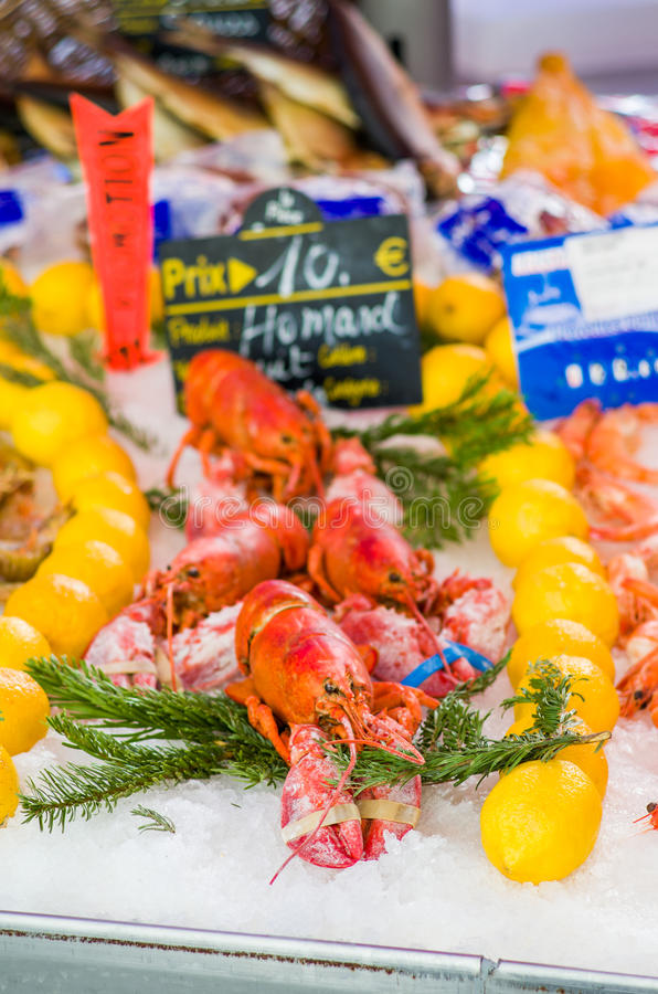Lobsters, street market in Nice, France. Fresh seafood is sold at the Market in Nice, France. Focus on the foreground with shallow depth of field royalty free stock photos