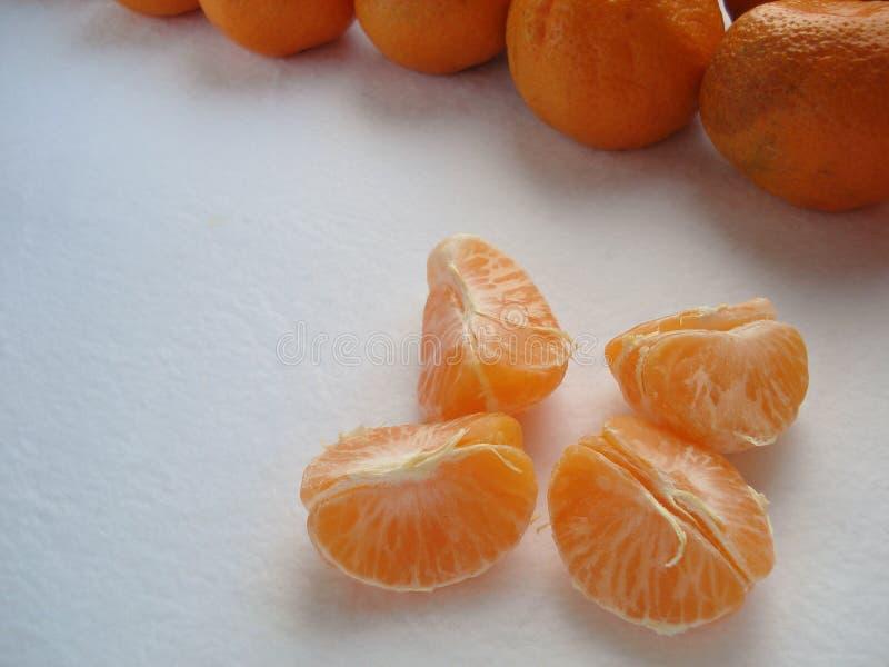 Lobule av mandarinen, närbild Renad mandarin arkivfoton