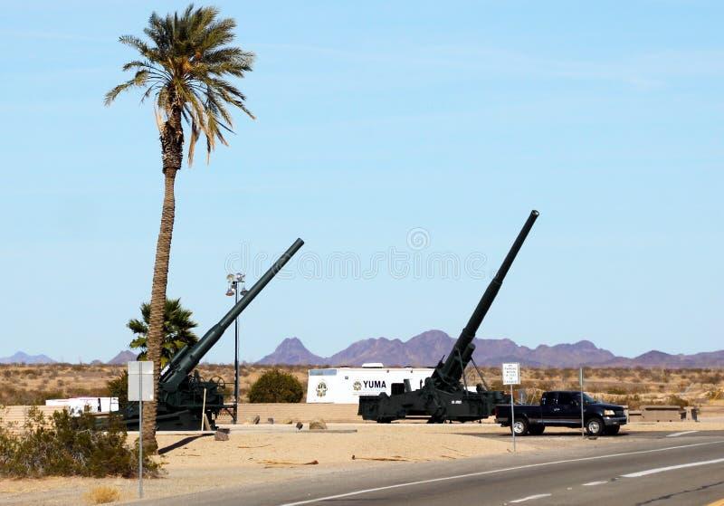 Locais de ensaio militares, paisagem de Yuma County Arizona fotografia de stock royalty free