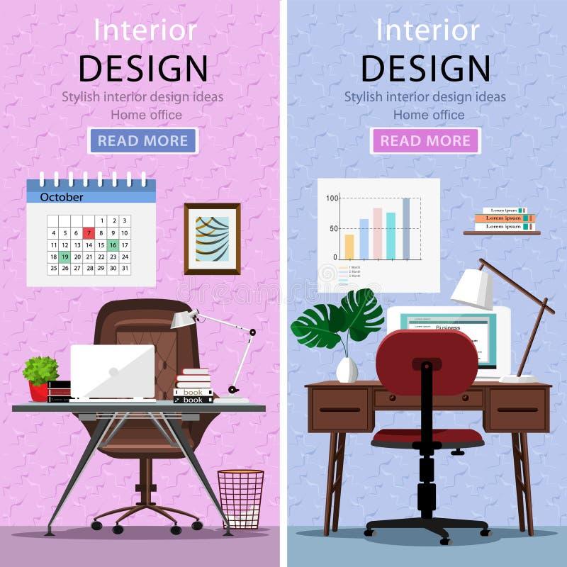 Locais de trabalho gráficos modernos com tabela, cadeira do escritório, lâmpada e portátil ilustração do vetor