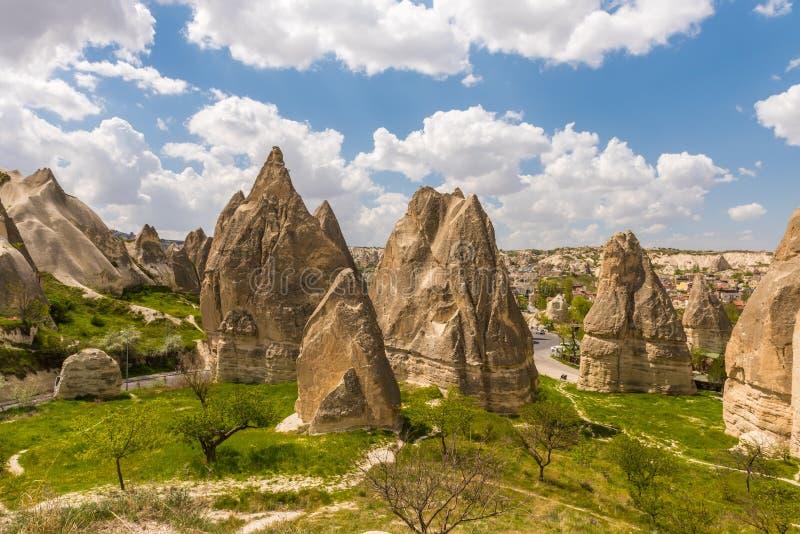 Locais do parque nacional e da rocha de Goreme de Cappadocia, paisagem vulcânica fotografia de stock royalty free