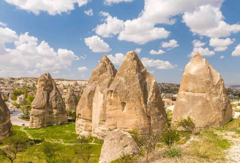 Locais do parque nacional e da rocha de Goreme de Cappadocia, paisagem vulc?nica imagens de stock royalty free