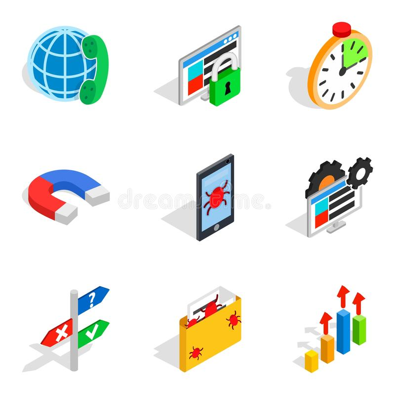 Local area network icons set, isometric style. Local area network icons set. Isometric set of 9 local area network vector icons for web isolated on white royalty free illustration