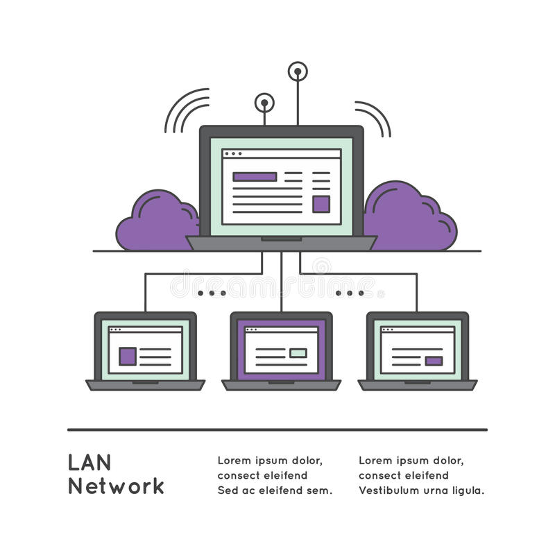 Local Area Network LAN with Network Equipment. Vector Icon Style Illustration of Local Area Network LAN with Network Equipment and Wide Area Network vector illustration