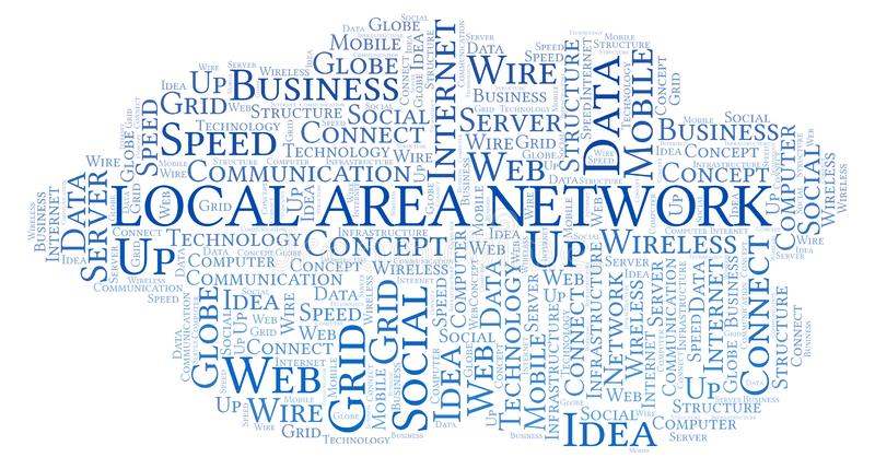 Local Area Network word cloud. Word cloud made with text only vector illustration