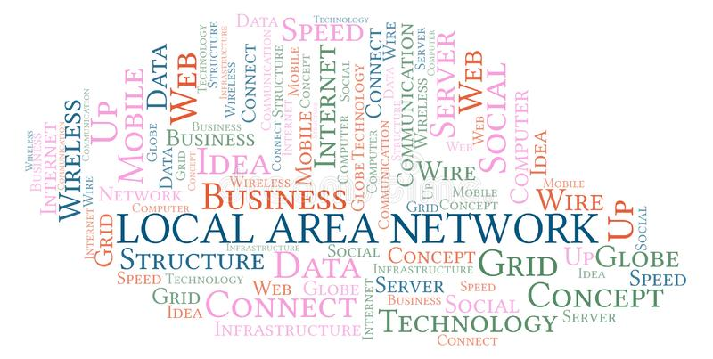 Local Area Network word cloud. Word cloud made with text only stock illustration