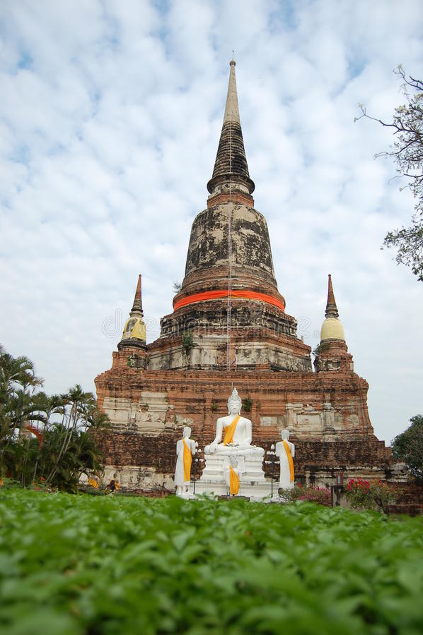 Local arqueológico no templo Ayutthaya imagens de stock