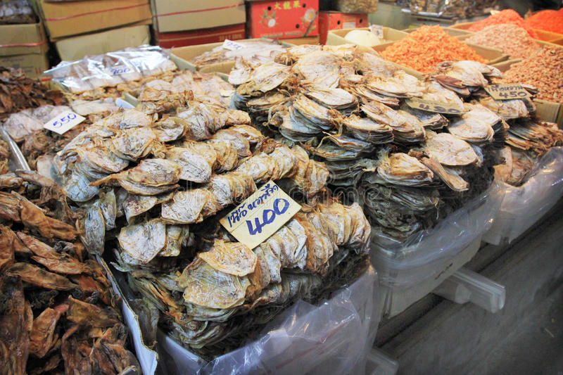 Local asian foods in Thailand - dried octopus royalty free stock photos