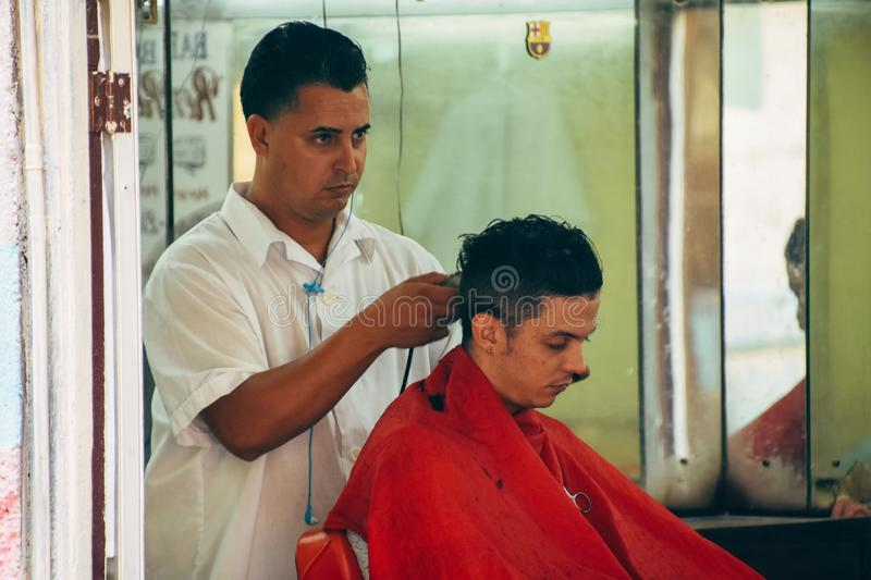A local barber in Havana, Cuba. royalty free stock photography