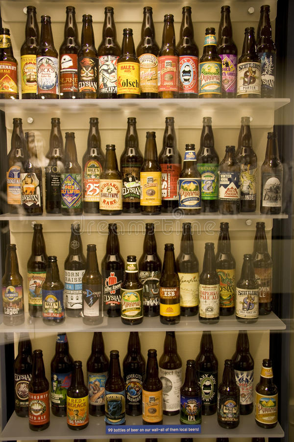 Beer bottles in the Museum of History and Industry. The local beers were produced in Seattle area in the history. Museum of History and Industry royalty free stock photos