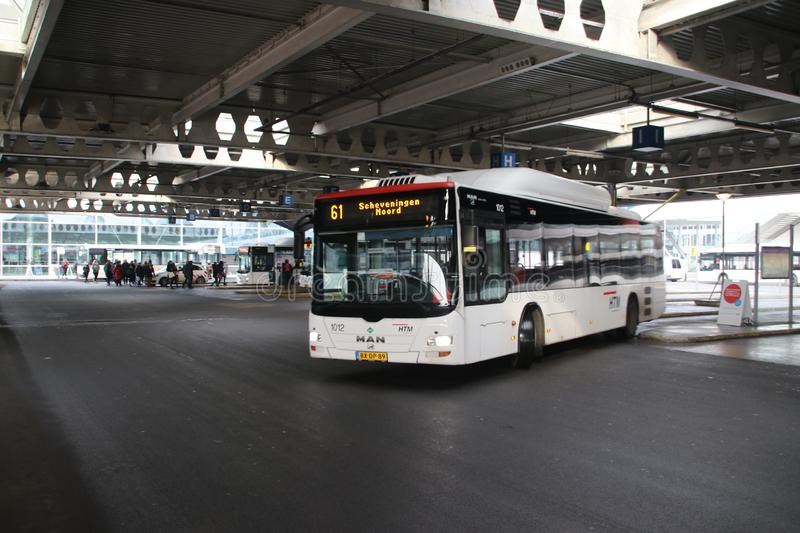 Local bus HTM Buzz at the station of Den Haag Centraal number 1012 on temporary line 61 heading Scheveningen. stock images