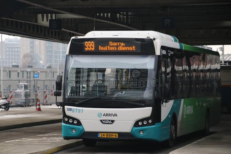 Local bus at the station of Den Haag Centraal number 8797 of Arriva without service, in Dutch `sorry geen dienst. royalty free stock image