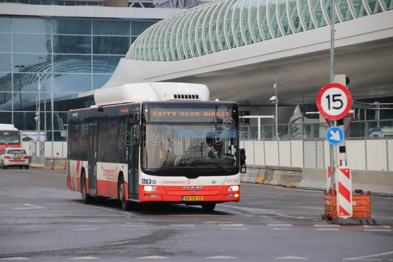 Local bus at the station of Den Haag Centraal number 6730 of Connexxion without service and dutch text Sorry Geen dienst. stock photos