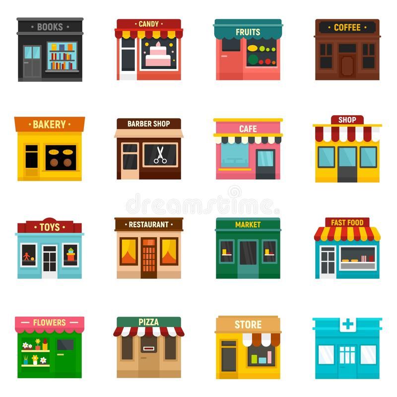 Local business icons set, flat style royalty free illustration