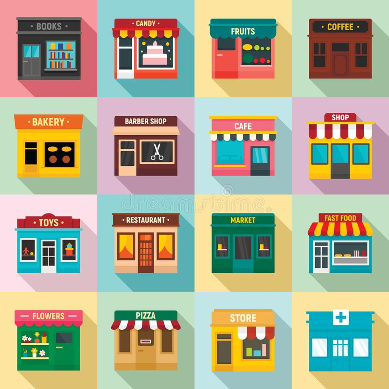 Local business icons set, flat style stock illustration