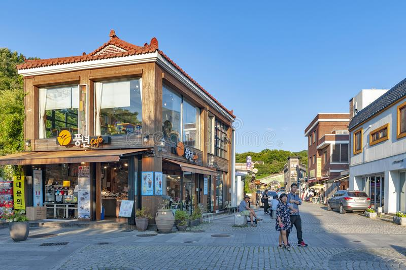 Local cafe and restaurant in Jeonju Hanok Village, South Korea stock photo