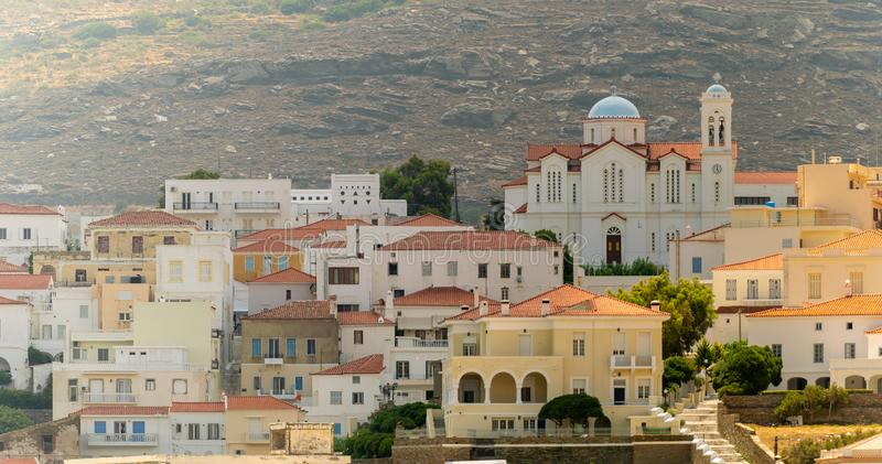 Local church of Andros town at Andros island in Greece. stock image