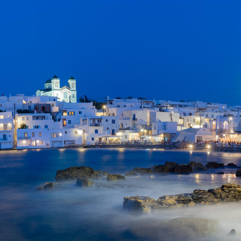 Local church of Naoussa village at Paros island in Greece. stock photography