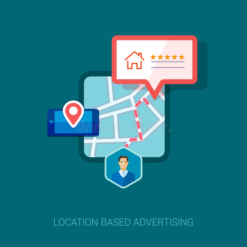 Local city map mobile navigation flat icon vector illustration