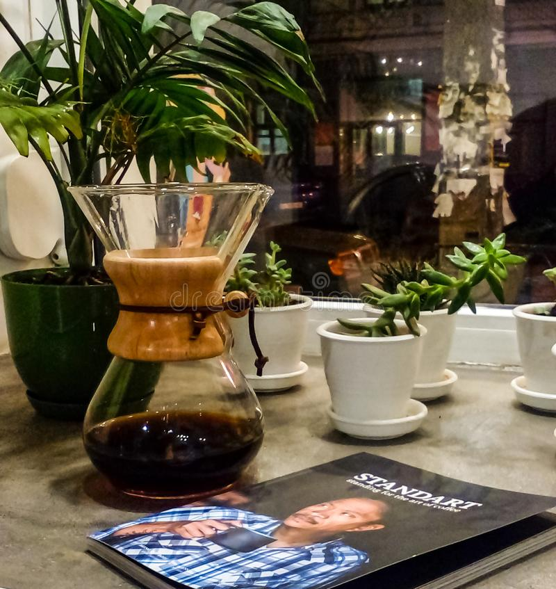 Kiev, Ukraine 1 October, 2018. Local coffee shop. The magazine for leisure. Alternative way of preparation. stock images