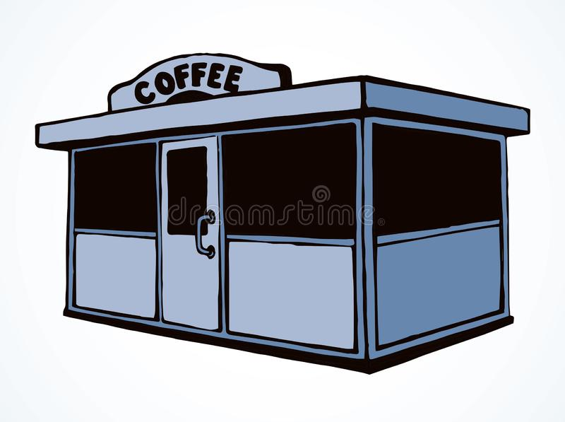 Shop stall. Vector drawing. Local cookies show booth box stand exterior on white space for text. Line black hand draw empty town glass rack cabin symbol. Small stock illustration