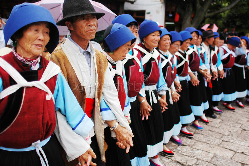 Local dancers in Lijiang royalty free stock image
