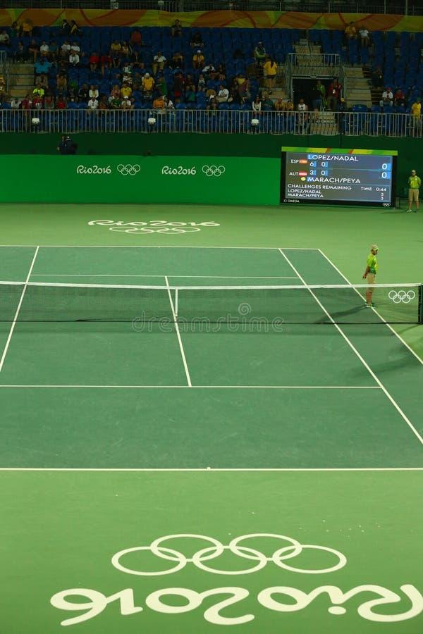 Local de encontro principal Maria Esther Bueno Court do tênis do Rio 2016 Jogos Olímpicos imagem de stock royalty free