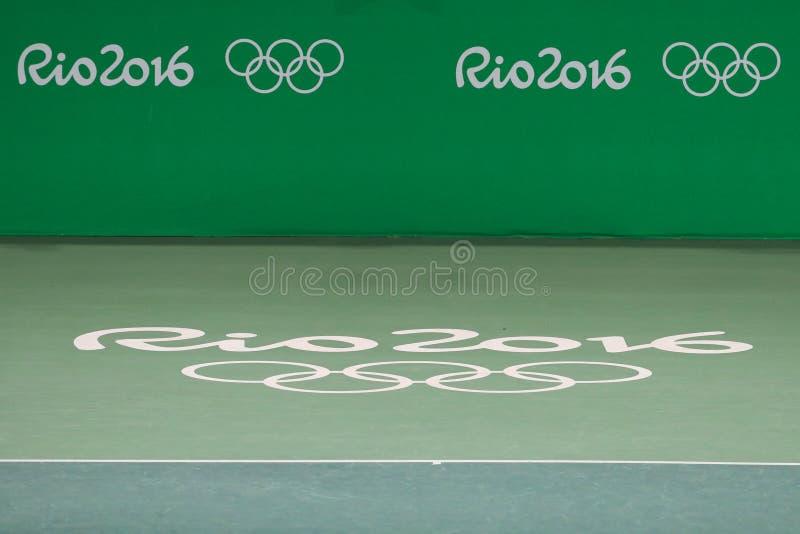 Local de encontro principal Maria Esther Bueno Court do tênis do Rio 2016 Jogos Olímpicos imagem de stock