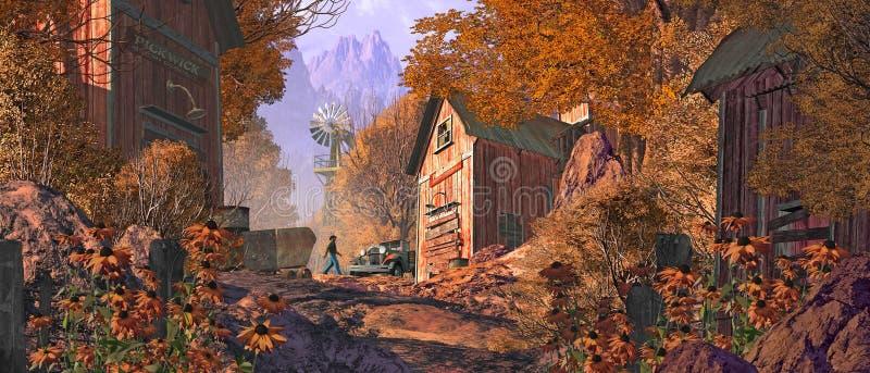 Local de mineração do ouro velho nas montanhas ilustração do vetor