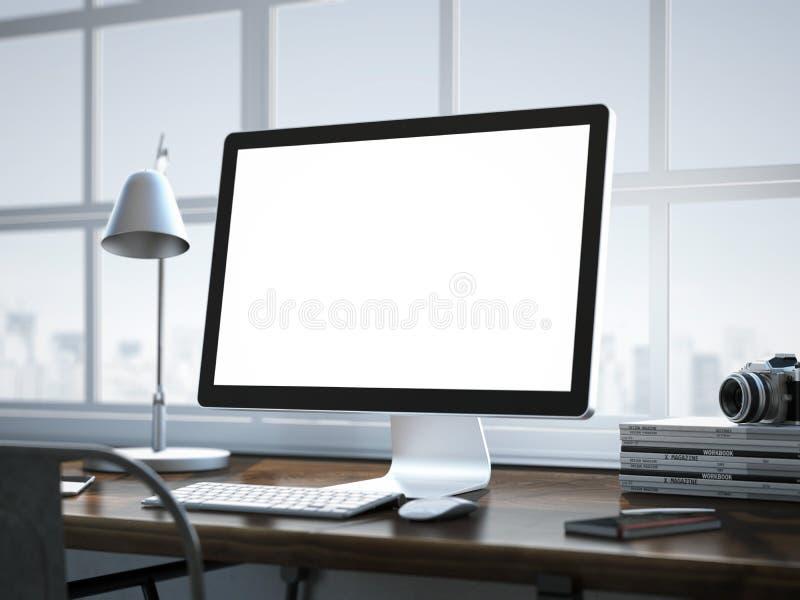 Local de trabalho à moda com o computador moderno no interior do sótão imagem de stock royalty free