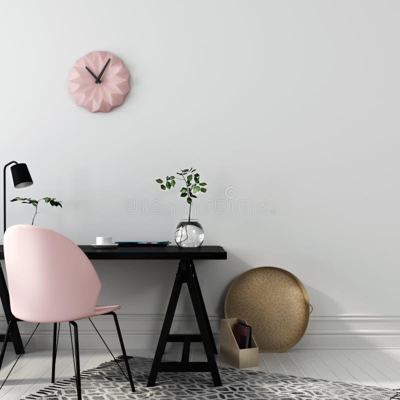 Local de trabalho à moda com uma cadeira cor-de-rosa ilustração do vetor