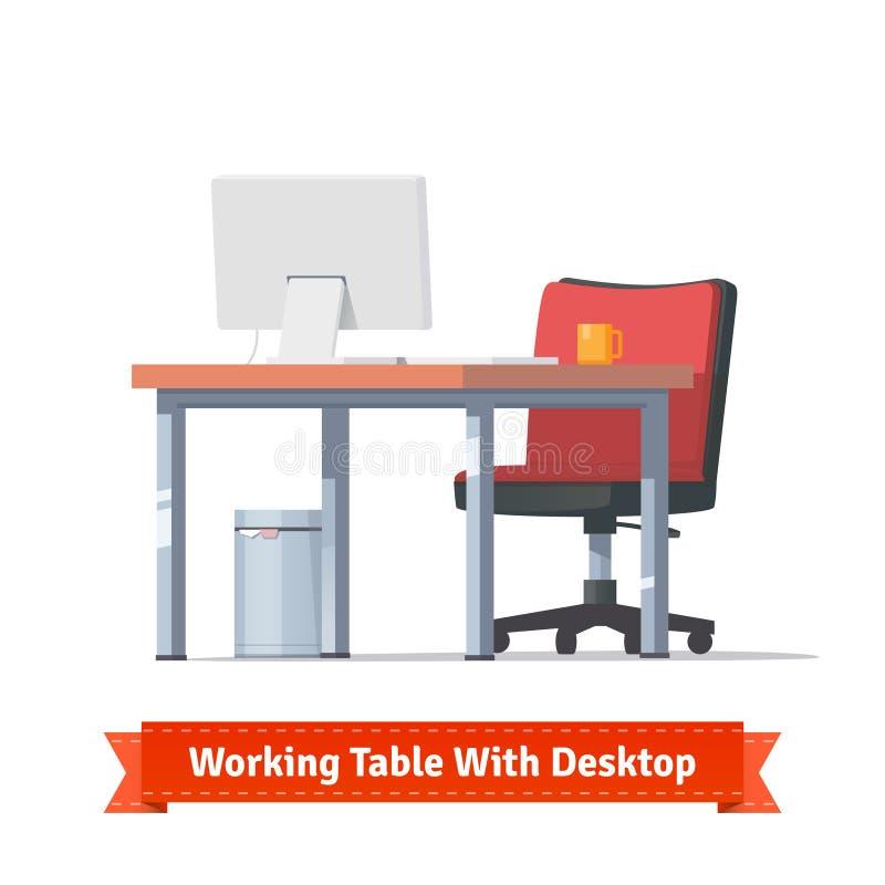 Local de trabalho com desktop, cadeira de rodas e um trashcan ilustração do vetor