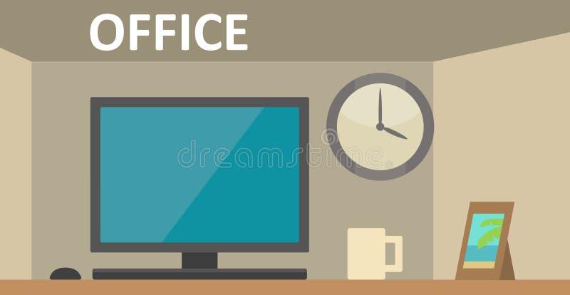 Local de trabalho com um computador no escritório Ilustração lisa da cor do vetor ilustração stock