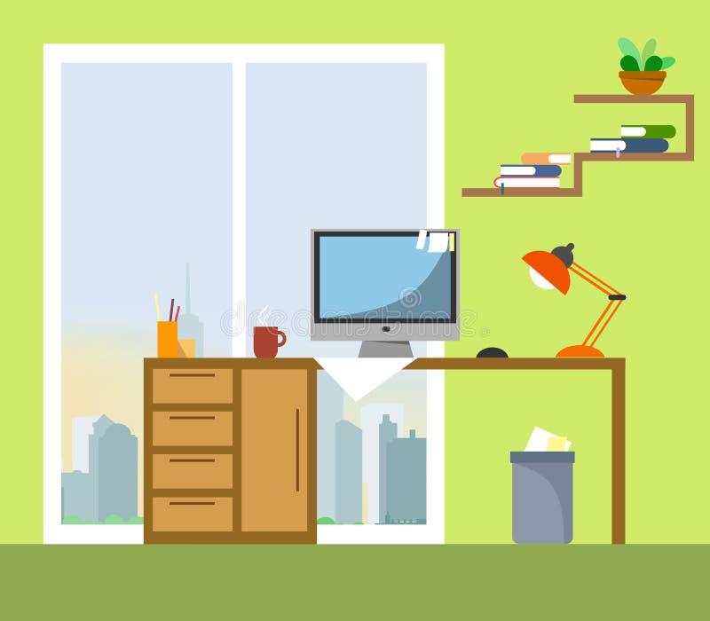 Local de trabalho com uma vista dos arranha-céus e de uma cidade em um estilo liso Vetor ilustração do vetor