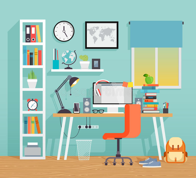 Local de trabalho da criança do schoo - estilo liso ilustração stock