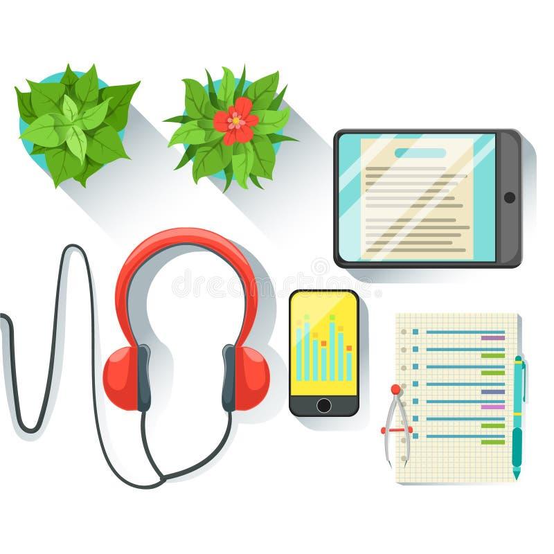 Local de trabalho do empregado de escritório com tabuleta, Smartphone e fones de ouvido, grupo de trabalho estacionário e eletrôn ilustração royalty free
