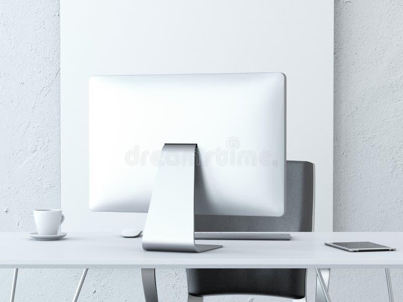 Local de trabalho do escritório com computador moderno imagens de stock