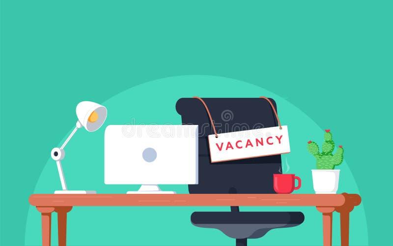 Local de trabalho do escritório com sinal da vaga Lugar vazio, cadeira na sala para o empregado Negócio que contrata, conceito do ilustração do vetor