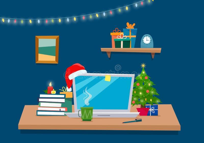 Local de trabalho do escritório do Natal Tabela com computador, presentes, árvore de Natal, livros ilustração stock