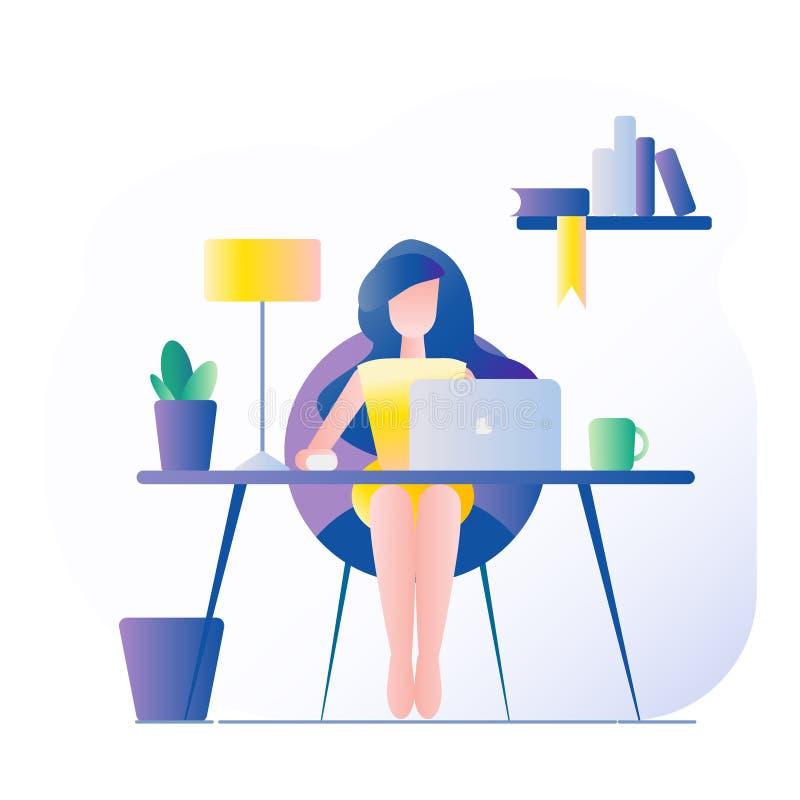 Local de trabalho do escrit?rio A menina senta-se na tabela Na tabela é um portátil, lâmpada, copo, cacto Ilustração do vetor com ilustração royalty free