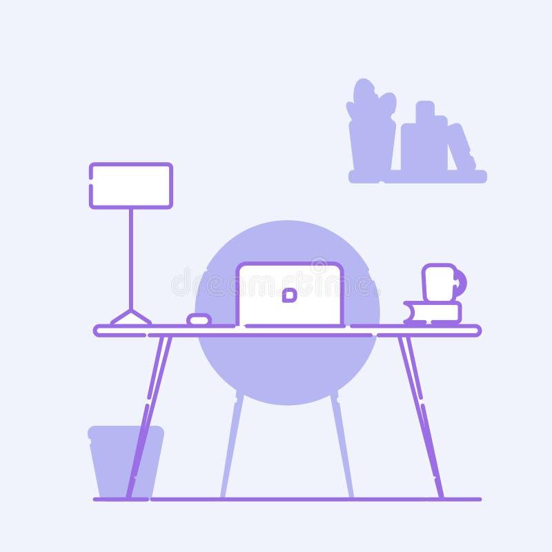 Local de trabalho do escrit?rio Na tabela é um portátil, lâmpada, copo, cacto Ilustração do vetor com linha Gama fria ilustração stock