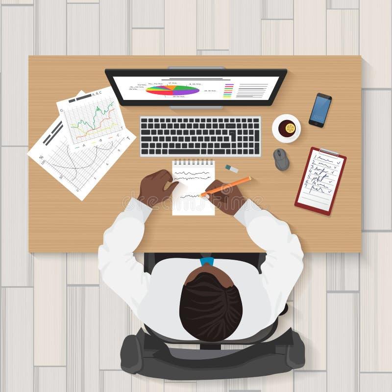 Local de trabalho do negócio Opinião superior o homem de negócios que trabalha no portátil no escritório Conceito superior do hom ilustração royalty free