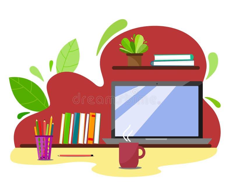 Local de trabalho em um fundo abstrato com livros, portátil, lápis e uma caneca quente de chá ou de café Ilustração lisa do estil ilustração stock